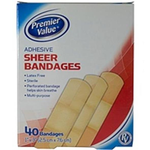 "Premier Value Sheer Plastic Bandage 1""X3"" - 40ct"