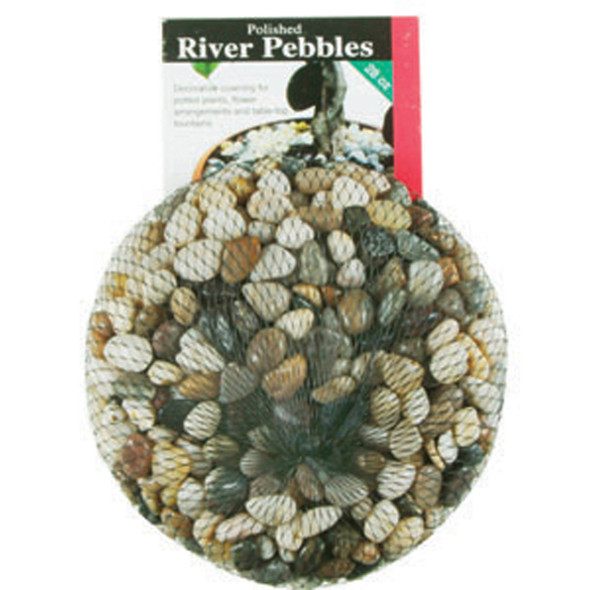 Polished River Pebbles, Asst, 28 oz - 1 Bag