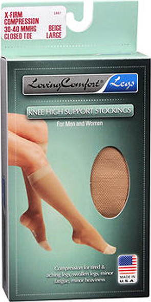 Loving Comfort Support Knee High Support Stockings X-Firm Beige Large Closed Toe