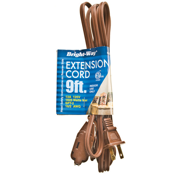 Extension Cord 9', Brown - 1 Pkg