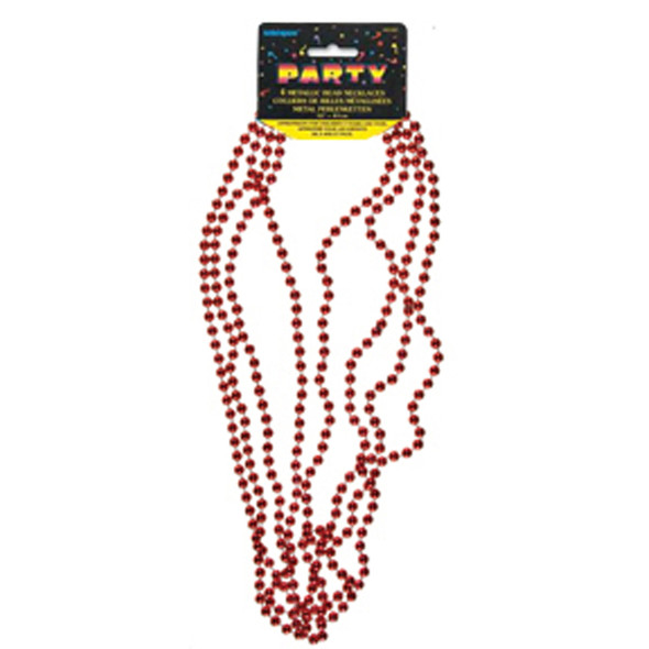 "Bead Necklace Party Favors, Red, 32"" - 1 Pkg"