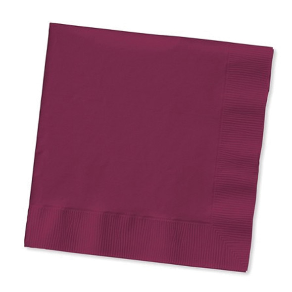 Solid Color Beverage Napkin, Burgundy, 50 Ct - 1 Pkg
