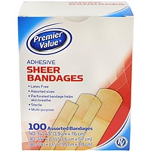 Premier Value Sheer Bandage Asst Sizes - 100ct