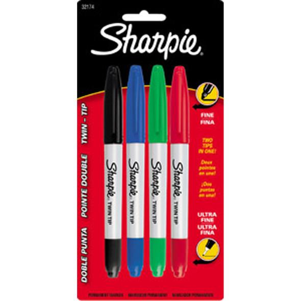 Sharpie Twin Tip Marker, Primary, 4Ct. - 1 Pkg