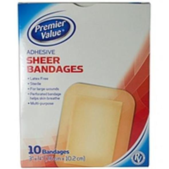 Premier Value Sheer Plastic Bandage 3X4 - 10ct