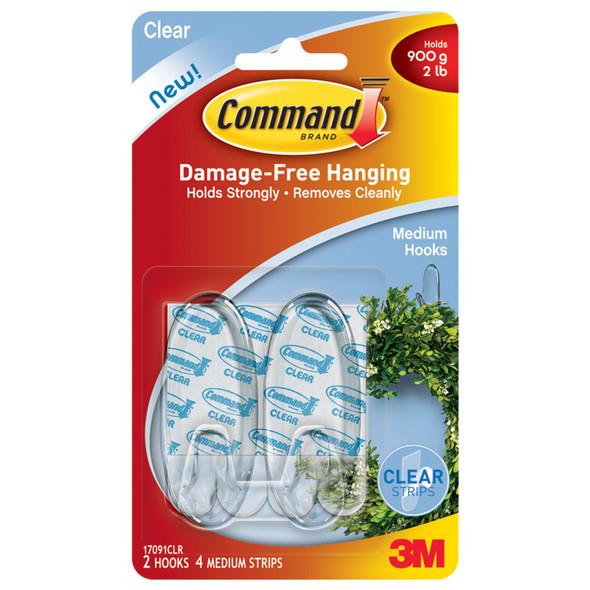 Command Adhesive Medium Hook, Clear, Medium - 1 Pkg