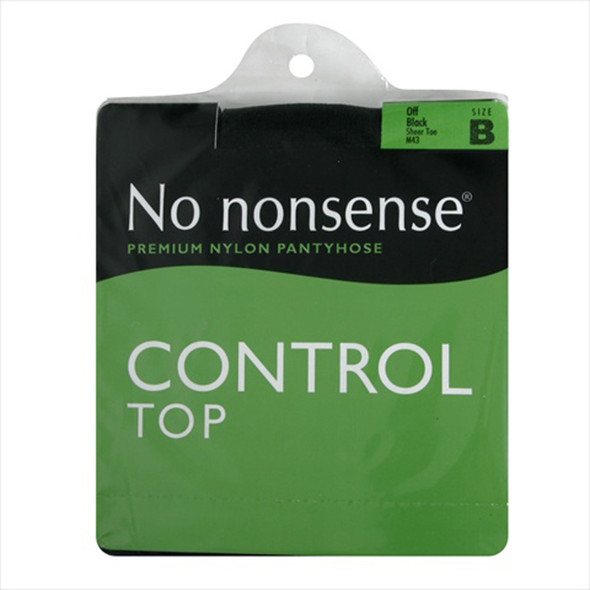 Control Top Panty Hose, Off Black, B - 1 Pkg