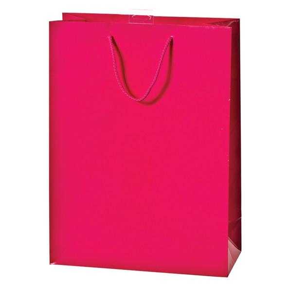 "Solid Glossy Gift Bag, Magenta, 17X12X6"" - 1 Pkg"