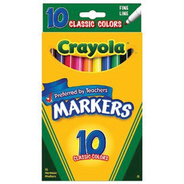 Coloring & Drawing Marker-Classic Colors 10Ct, Thin Line - 1 Pkg
