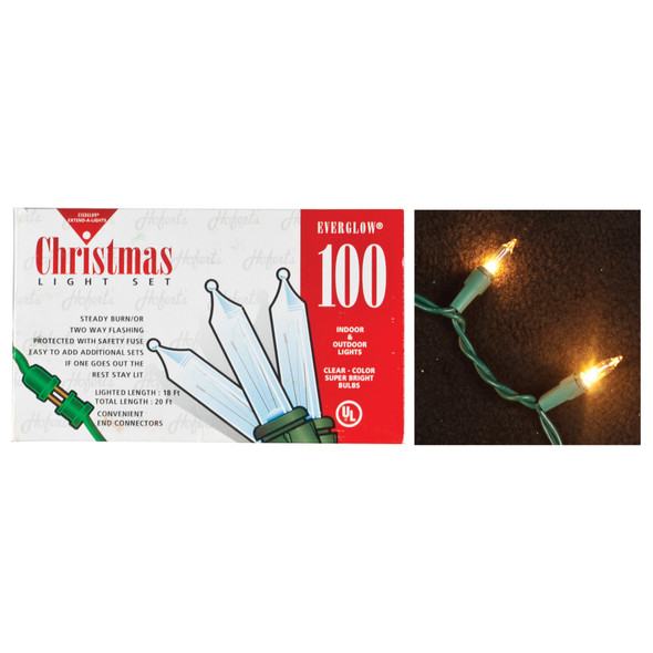 Outdoor Light Set, Green/Clear, 100 Lights - 1 Set