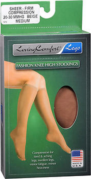 Loving Comfort Knee-High Compression Hose - Beige - Medium 1684802