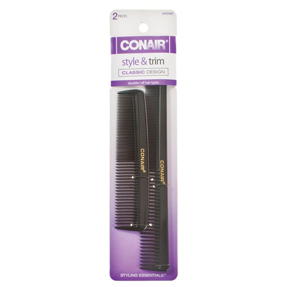 Pocket & Barber Comb-Hard Rubber, Black, 2Ct - 1 Pkg