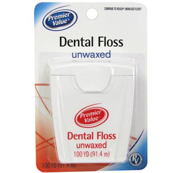 Premier Value Dental Floss Unwaxed - 100 yd.
