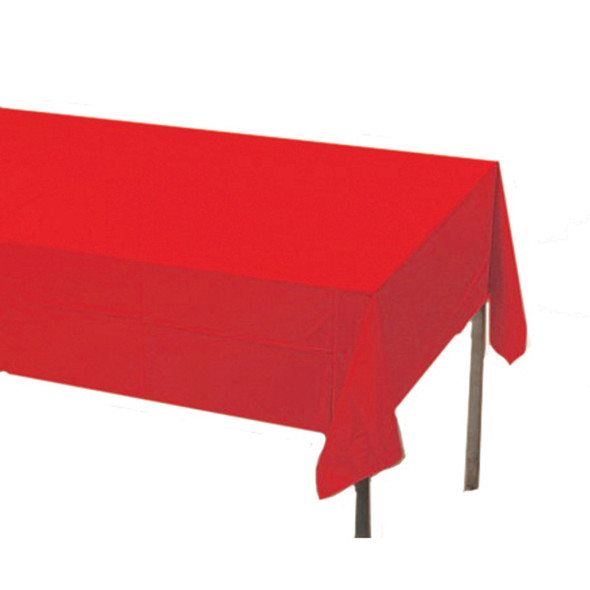 "Solid Color Plastic Tablecover, Classic Red, 54X108"" - 1 Pkg"