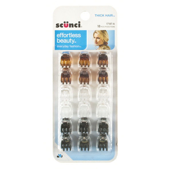 Mini Jaw Hair Clip, Asst, 18 Ct - 1 Pkg