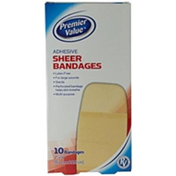 "Premier Value Sheer Plastic Bandage 2""X4"" - 10ct"