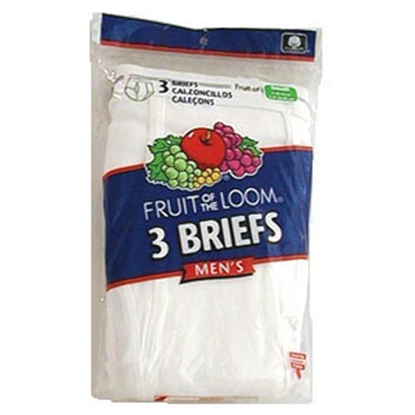 Men's White Briefs 3-Pack Underwear, White, Large - 1 Pkg