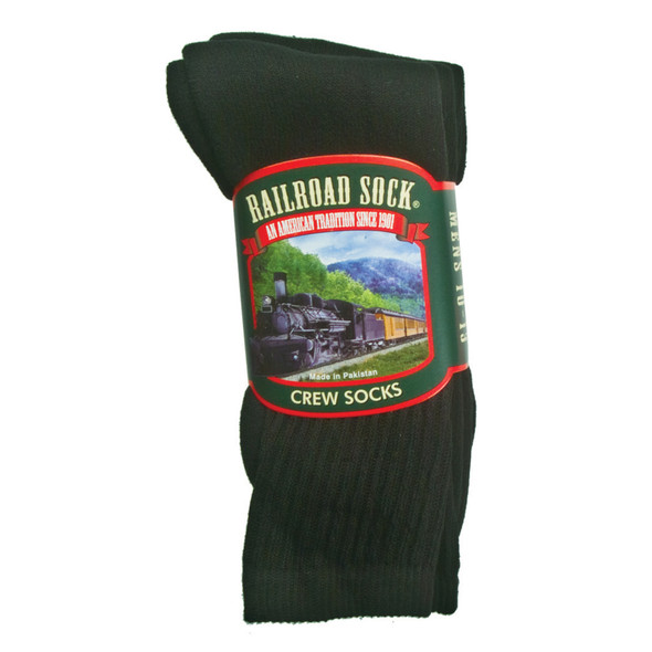 Men's Crew Socks, Black - 1 Pkg
