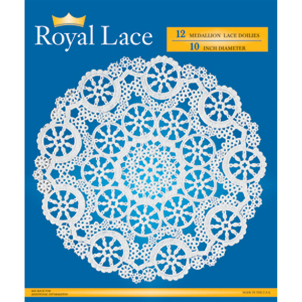 "Royal Lace Paper Lace Doilies, White, 10"" - 12 ct"