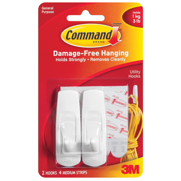 Command Adhesive Utility Hooks, White, Medium - 1 Pkg