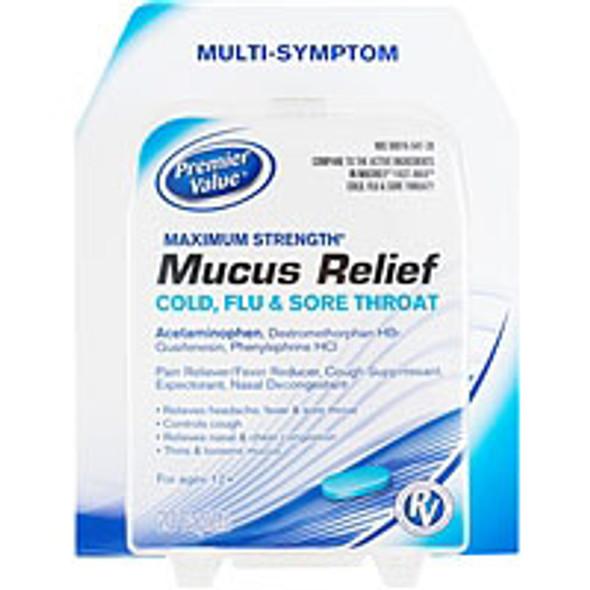 Premier Value Mucus Relief Cold, Flu & Sore Throat Caplets - 20ct