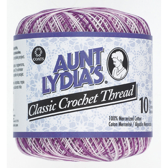 Aunt Lydia's Classic Crochet Thread, Shaded Purples, 300 Yds. - 3 Pkgs