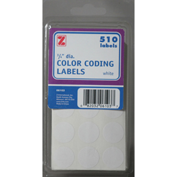 "White Labels, White, .75""Rd. - 1 Pkg"