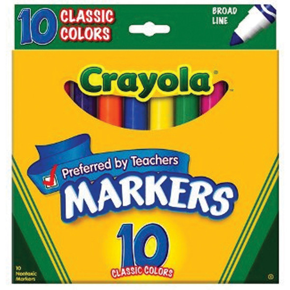 Coloring & Drawing Marker-Classic Colors 10Ct, Broad Line - 1 Pkg