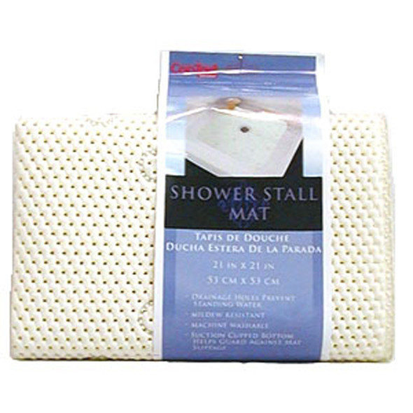"Shower Stall Mat, White, 21X21"" - 1 Pkg"