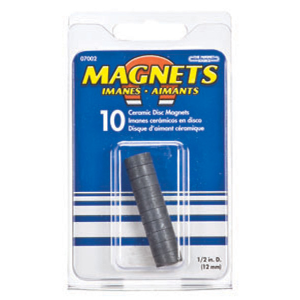 "Round Ceramic Disc Magnets, Black, 1/2"" - 1 Pkg"