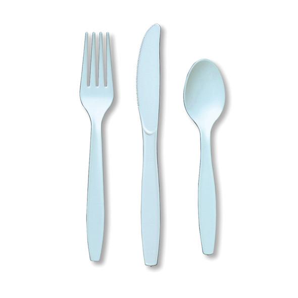 "Solid Color Assorted Cutlery, Light Blue, 6-7"" - 1 Pkg"
