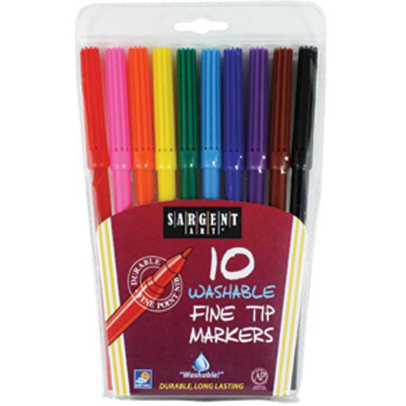 Washable Marker, Assorted, Fine 10Ct. - 1 Pkg