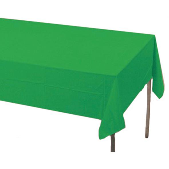 "Solid Color Plastic Tablecover, Emerald Green, 54X108"" - 1 Pkg"