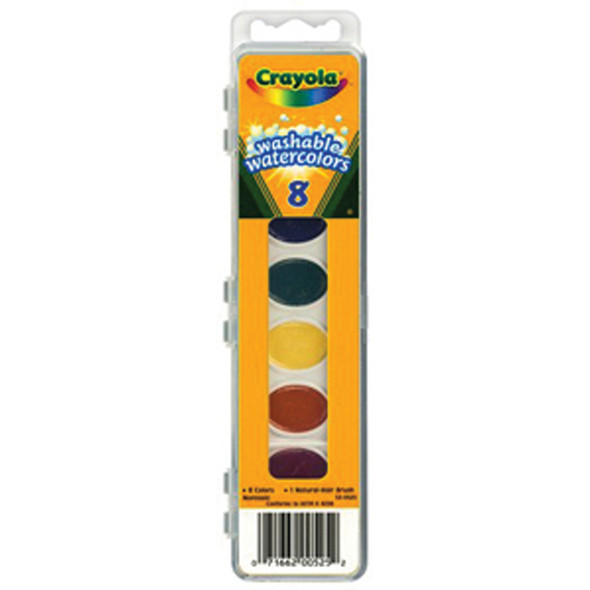 Washable Water Colors W/Brush, Assorted, 8Ct. - 1 Pkg