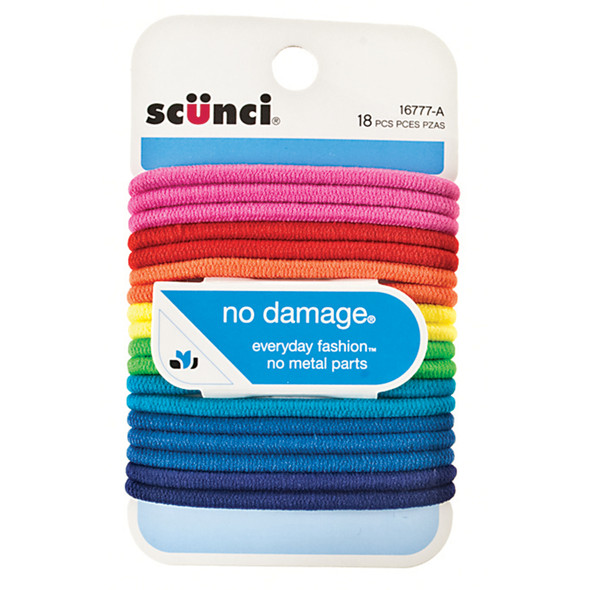 Hair Elastics-Large-No Damage, Assorted Brights, 18 Ct - 1 Pkg