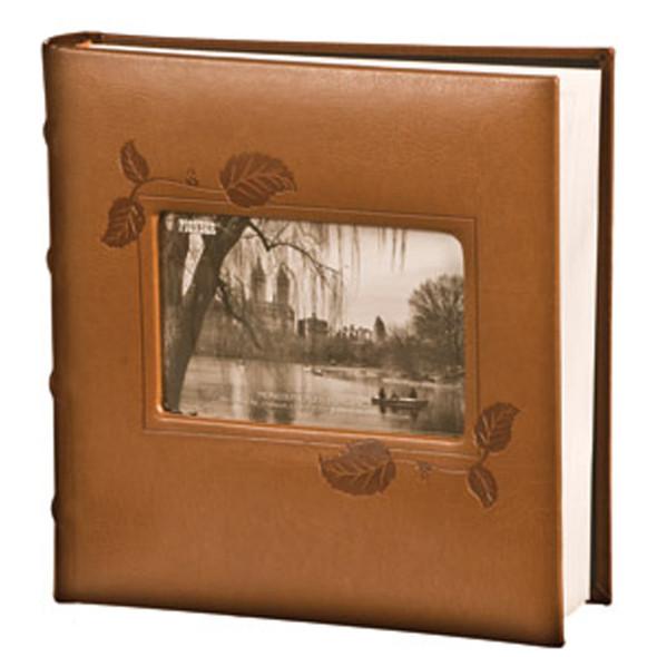 Leatherette Framed Photo Album, Brown Ivy, 200 Pocket - 1 Pkg