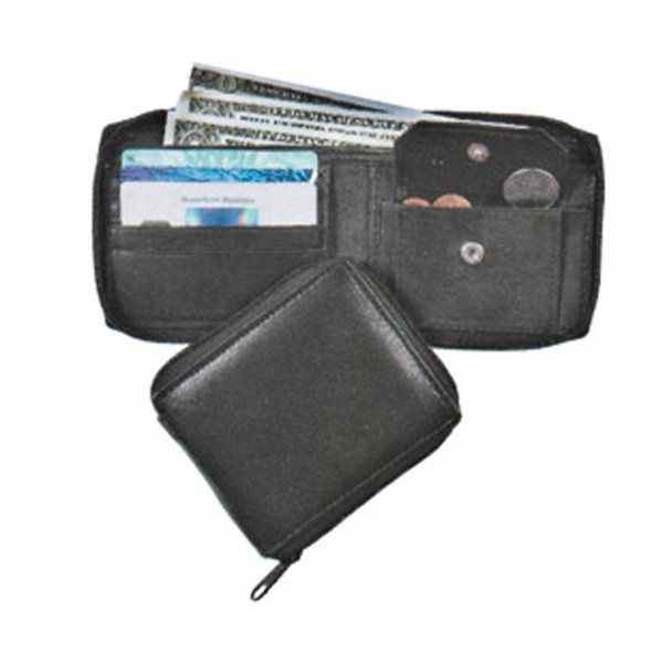 Zip Around Wallet, Black, 9X4 - 1 Pkg