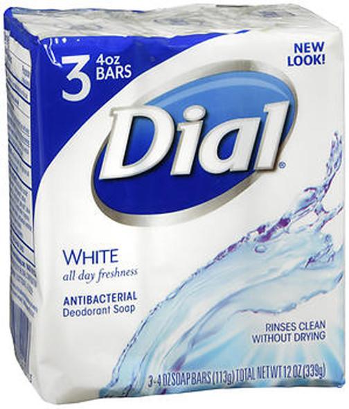 Dial Antibacterial Deodorant Soap White, 3 - 4.5 oz Bars