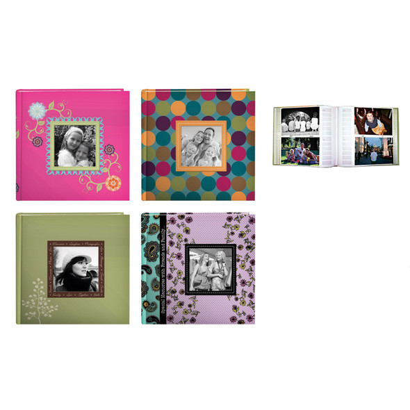 Designer Raised Frame Photo Album, 4 Asst, 200 Pocket - 1 Pkg