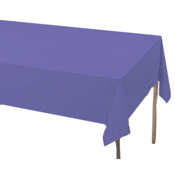 "Solid Color Plastic Tablecover, Purple, 54X108"" - 1 Pkg"