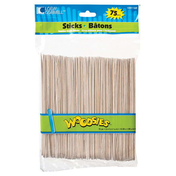 "Jumbo Craft Sticks, Wood, Natural, 75 Ct, 6"" - 1 Pkg"
