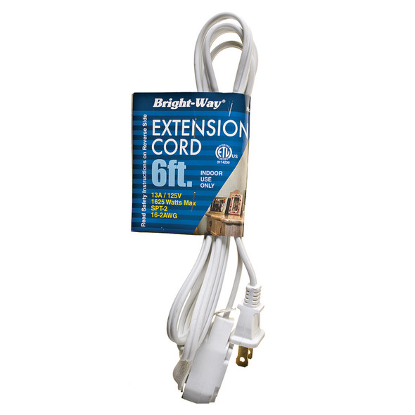 Extension Cord 6', White - 1 Pkg