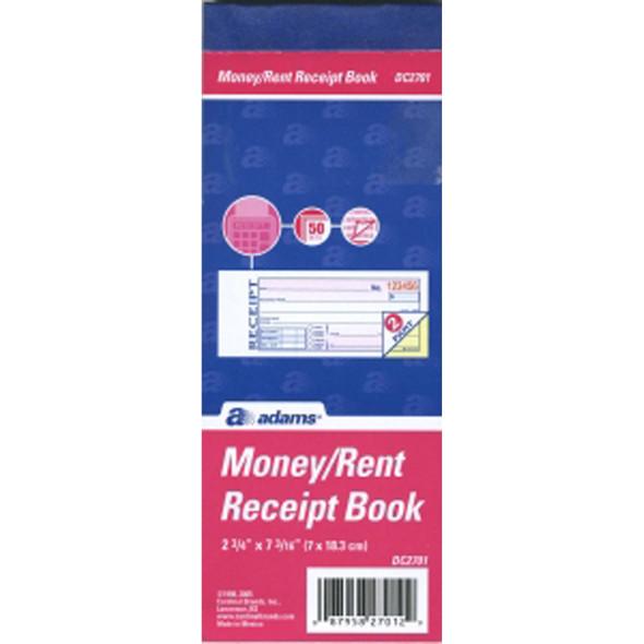 "Money/Rent Receipt Book, 2x7.25"""