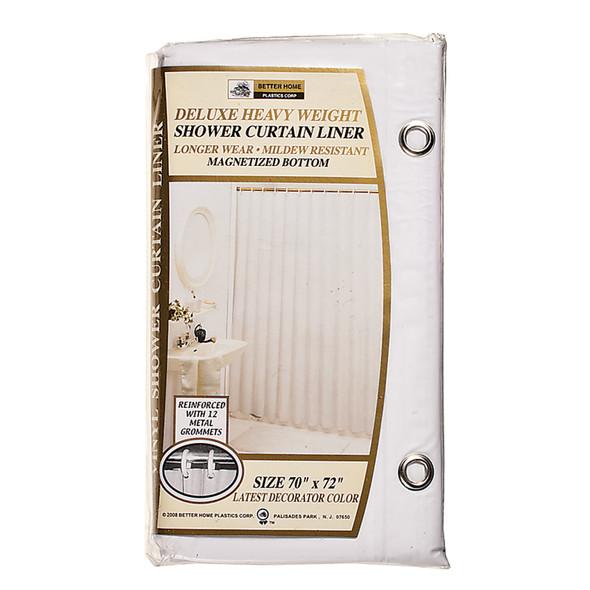 """Deluxe Vinyl Shower Curtain White, White, 70""""X72"""" - 1 Pkg"""