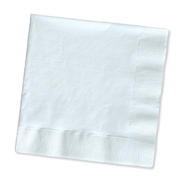 Solid Color Beverage Napkin, White, 50 Ct - 1 Pkg