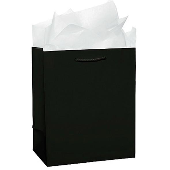 "Solid Glossy Gift Bag, Black, 9X8X4"" - 1 Pkg"