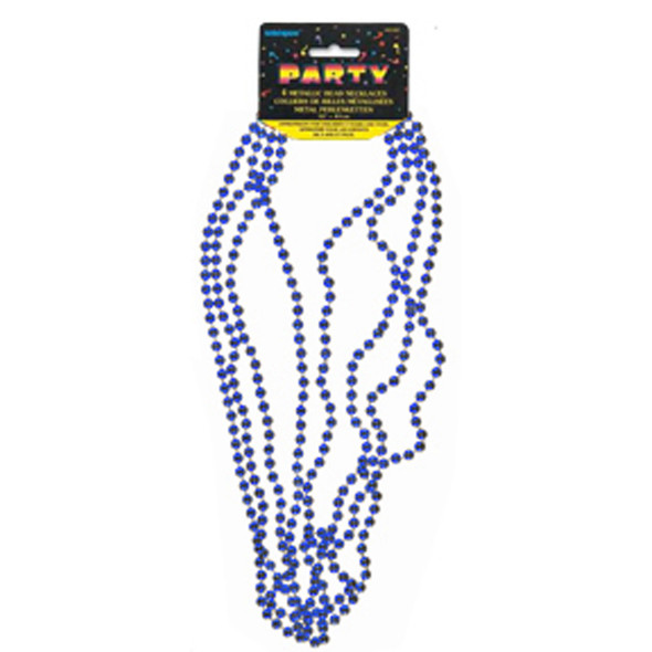 """Bead Necklace Party Favors, Blue, 32"""" - 1 Pkg"""