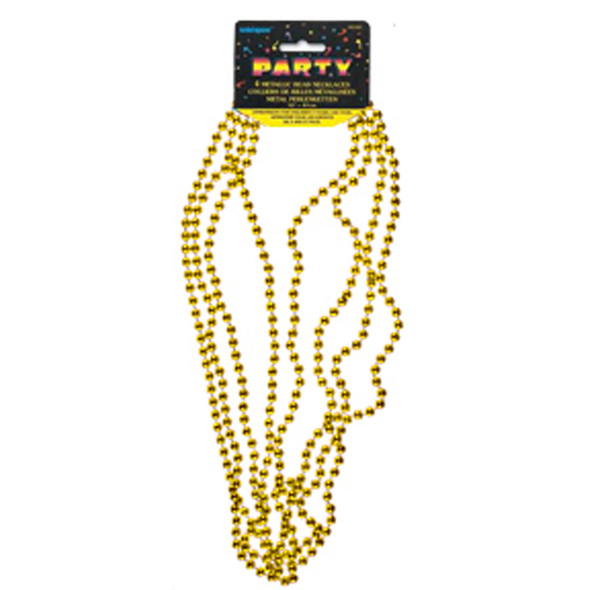 "Bead Necklace Party Favors, Gold, 32"" - 1 Pkg"