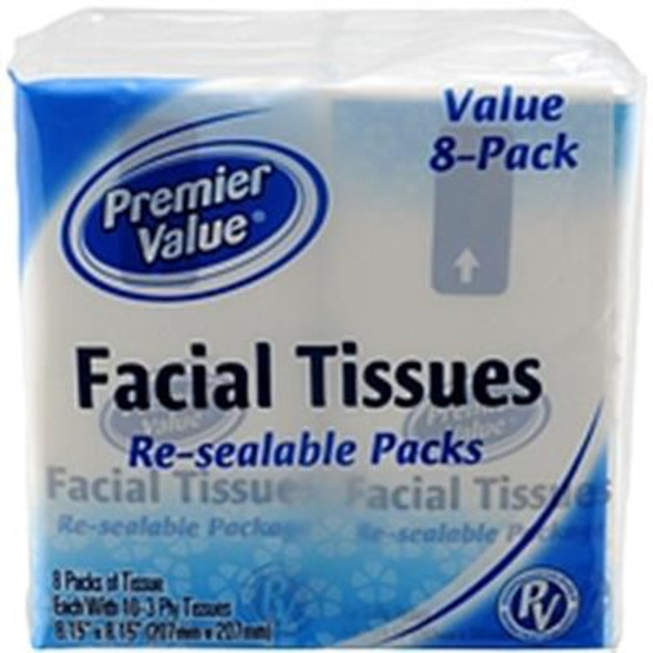 Premier Value Facial Tissue Pocket Pack - 8pk