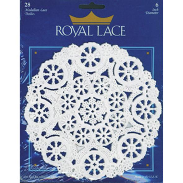 """Royal Lace Paper Lace Doilies, White, 6"""" - 1 Pkg"""
